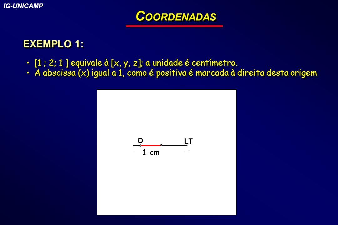 IG-UNICAMP COORDENADAS. EXEMPLO 1: [1 ; 2; 1 ] equivale à [x, y, z]; a unidade é centímetro.